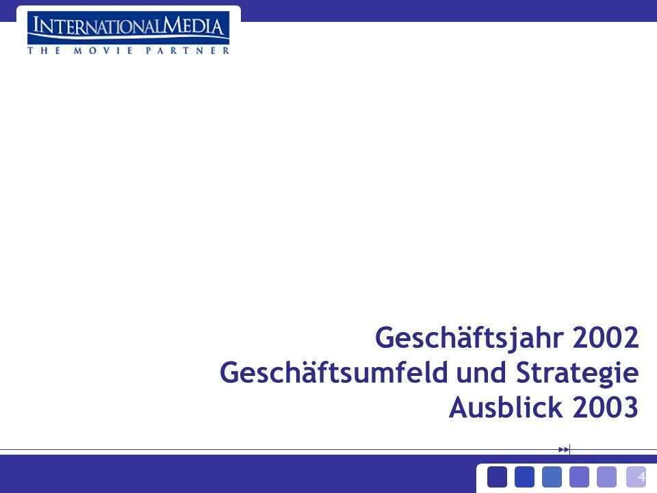 4 Geschäftsjahr 2002 Geschäftsumfeld und Strategie Ausblick 2003