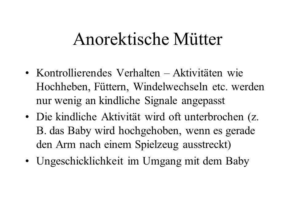Anorektische Mütter Kontrollierendes Verhalten – Aktivitäten wie Hochheben, Füttern, Windelwechseln etc.