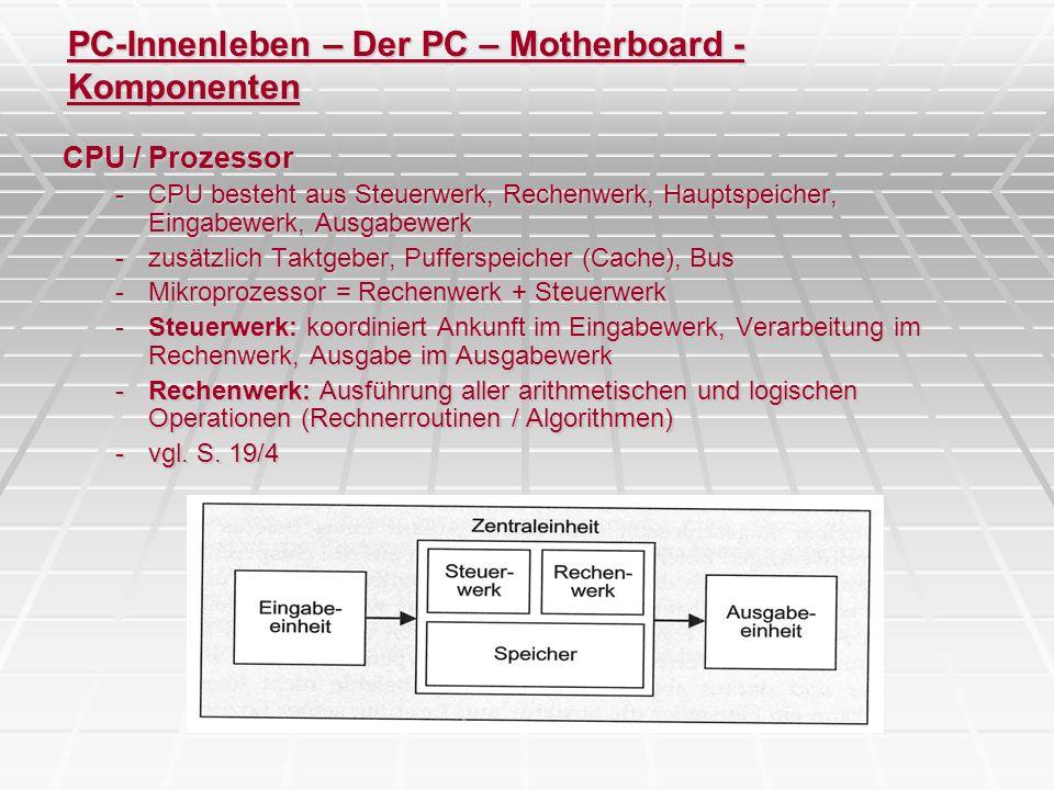 PC-Innenleben – Der PC – Motherboard - Komponenten CPU / Prozessor -CPU besteht aus Steuerwerk, Rechenwerk, Hauptspeicher, Eingabewerk, Ausgabewerk -z