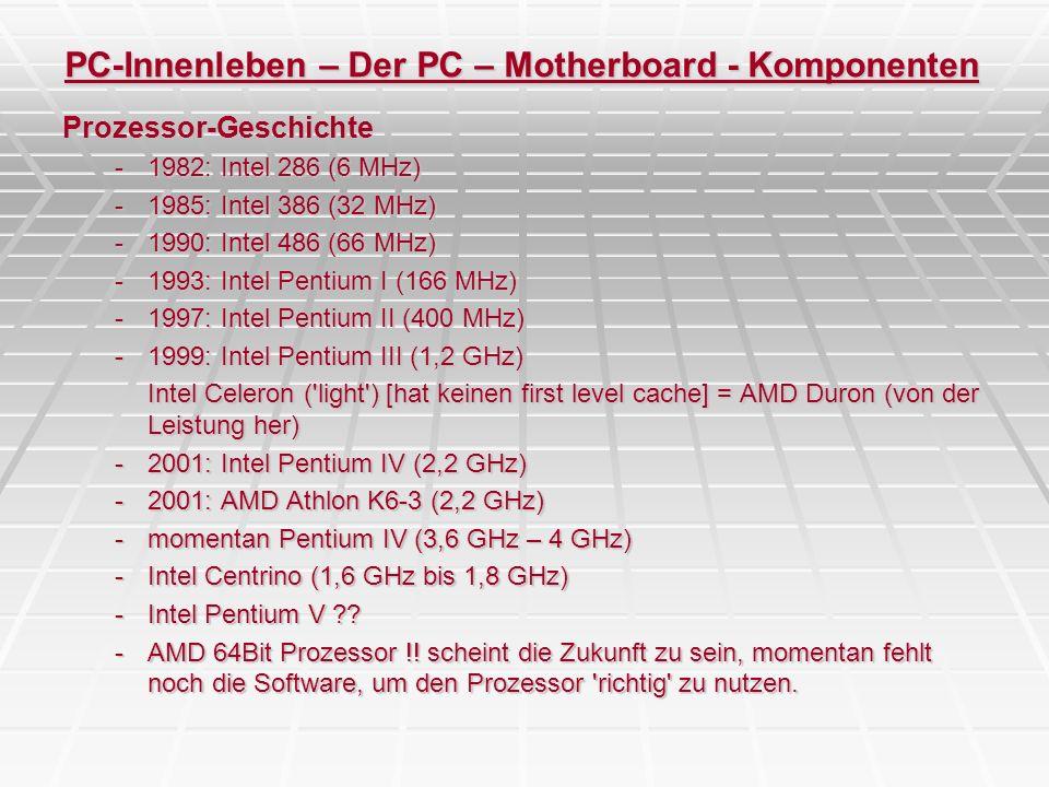 PC-Innenleben – Der PC – Motherboard - Komponenten Prozessor-Geschichte -1982: Intel 286 (6 MHz) -1985: Intel 386 (32 MHz) -1990: Intel 486 (66 MHz) -