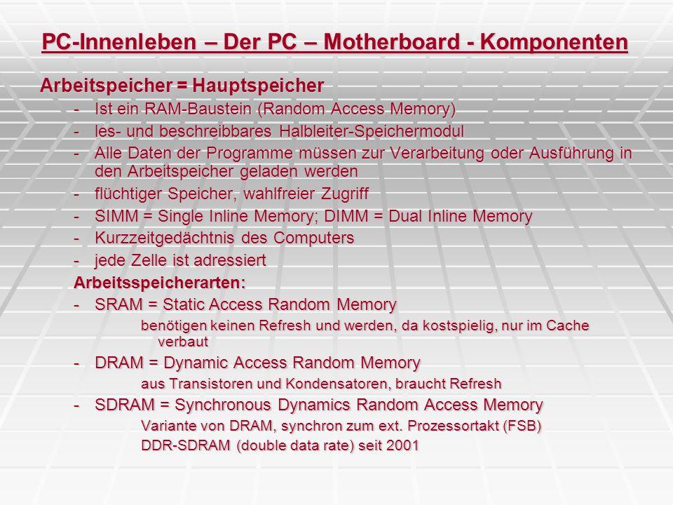 PC-Innenleben – Der PC – Motherboard - Komponenten Arbeitspeicher = Hauptspeicher -Ist ein RAM-Baustein (Random Access Memory) -les- und beschreibbare