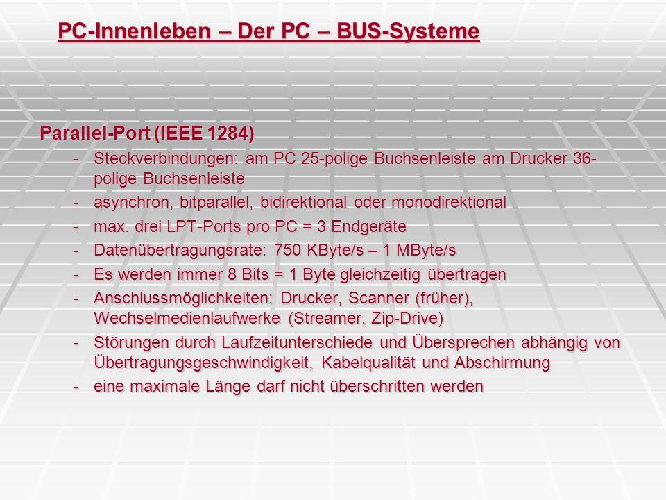 PC-Innenleben – Der PC – BUS-Systeme Parallel-Port (IEEE 1284) -Steckverbindungen: am PC 25-polige Buchsenleiste am Drucker 36- polige Buchsenleiste -