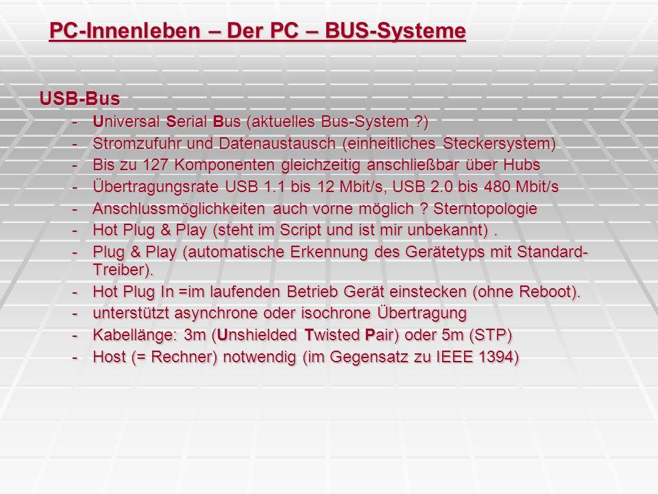 PC-Innenleben – Der PC – BUS-Systeme USB-Bus -Universal Serial Bus (aktuelles Bus-System ?) -Stromzufuhr und Datenaustausch (einheitliches Steckersyst