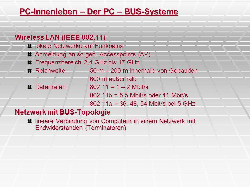 PC-Innenleben – Der PC – BUS-Systeme Wireless LAN (IEEE 802.11) lokale Netzwerke auf Funkbasis Anmeldung an so gen. Accesspoints (AP) Frequenzbereich