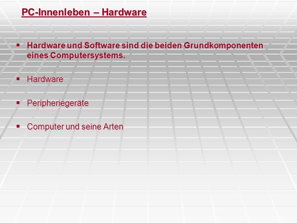 PC-Innenleben – Der PC – Motherboard - Komponenten CPU / Prozessor -CPU besteht aus Steuerwerk, Rechenwerk, Hauptspeicher, Eingabewerk, Ausgabewerk -zusätzlich Taktgeber, Pufferspeicher (Cache), Bus -Mikroprozessor = Rechenwerk + Steuerwerk -Steuerwerk: koordiniert Ankunft im Eingabewerk, Verarbeitung im Rechenwerk, Ausgabe im Ausgabewerk -Rechenwerk: Ausführung aller arithmetischen und logischen Operationen (Rechnerroutinen / Algorithmen) -vgl.