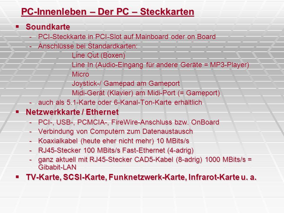 PC-Innenleben – Der PC – Steckkarten Soundkarte Soundkarte -PCI-Steckkarte in PCI-Slot auf Mainboard oder on Board -Anschlüsse bei Standardkarten: Lin