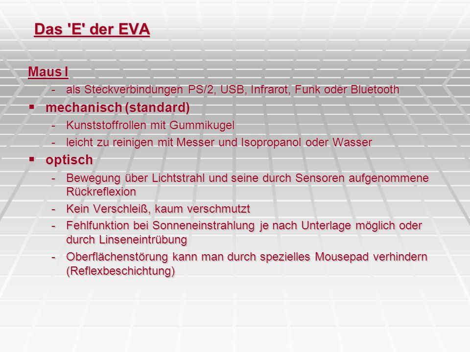 Das 'E' der EVA Maus I -als Steckverbindungen PS/2, USB, Infrarot, Funk oder Bluetooth mechanisch (standard) mechanisch (standard) -Kunststoffrollen m