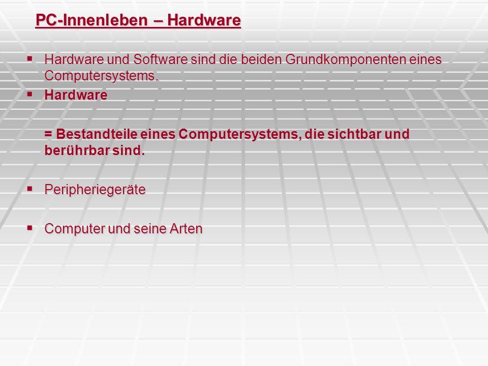 PC-Innenleben – Der PC – Motherboard - Komponenten Prozessor-Geschichte -1982: Intel 286 (6 MHz) -1985: Intel 386 (32 MHz) -1990: Intel 486 (66 MHz) -1993: Intel Pentium I (166 MHz) -1997: Intel Pentium II (400 MHz) -1999: Intel Pentium III (1,2 GHz) Intel Celeron ( light ) [hat keinen first level cache] = AMD Duron (von der Leistung her) -2001: Intel Pentium IV (2,2 GHz) -2001: AMD Athlon K6-3 (2,2 GHz) -momentan Pentium IV (3,6 GHz – 4 GHz) -Intel Centrino (1,6 GHz bis 1,8 GHz) -Intel Pentium V ?.