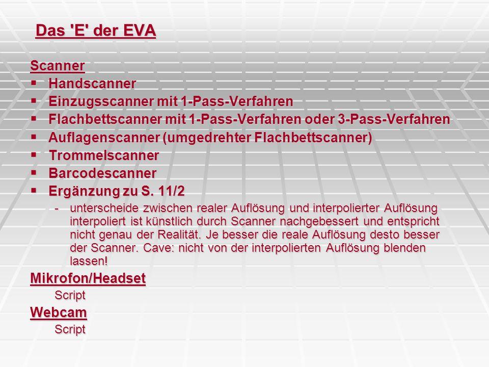 Scanner Handscanner Handscanner Einzugsscanner mit 1-Pass-Verfahren Einzugsscanner mit 1-Pass-Verfahren Flachbettscanner mit 1-Pass-Verfahren oder 3-P