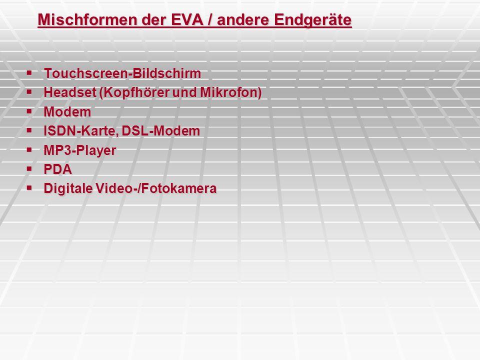 Mischformen der EVA / andere Endgeräte Touchscreen-Bildschirm Touchscreen-Bildschirm Headset (Kopfhörer und Mikrofon) Headset (Kopfhörer und Mikrofon)