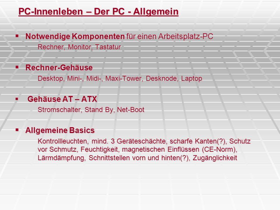 PC-Innenleben – Der PC - Allgemein Notwendige Komponenten für einen Arbeitsplatz-PC Notwendige Komponenten für einen Arbeitsplatz-PC Rechner, Monitor,
