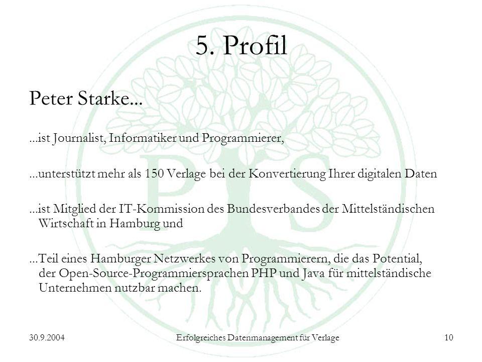 30.9.2004Erfolgreiches Datenmanagement für Verlage10 5.