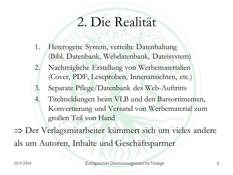 30.9.2004Erfolgreiches Datenmanagement für Verlage6 2.