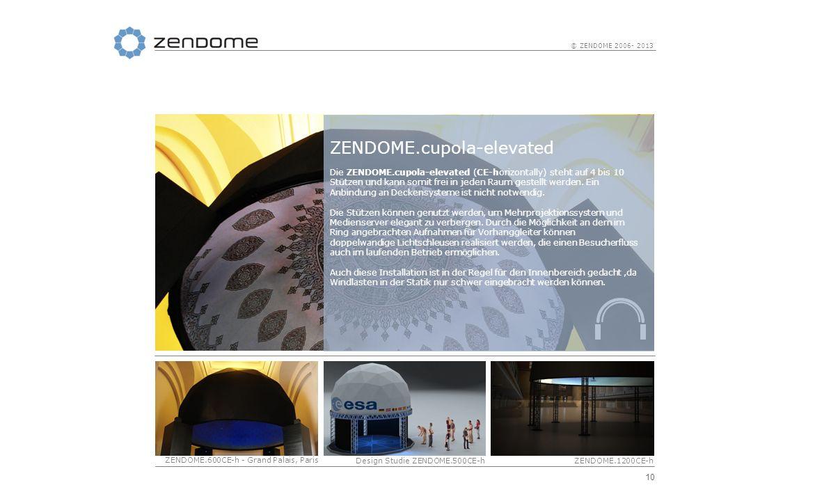 10 © ZENDOME 2006- 2013 ZENDOME.cupola-elevated Die ZENDOME.cupola-elevated (CE-horizontally) steht auf 4 bis 10 Stützen und kann somit frei in jeden