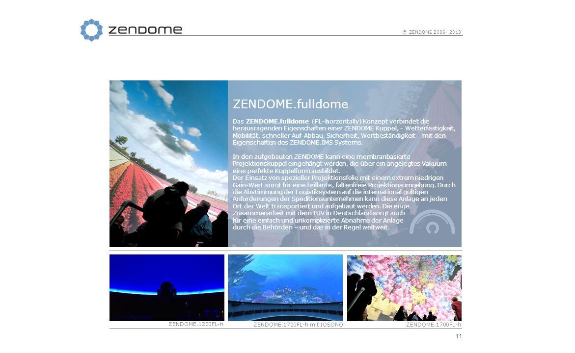 11 © ZENDOME 2006- 2013 ZENDOME.fulldome Das ZENDOME.fulldome (FL-horzontally) Konzept verbindet die herausragenden Eigenschaften einer ZENDOME Kuppel