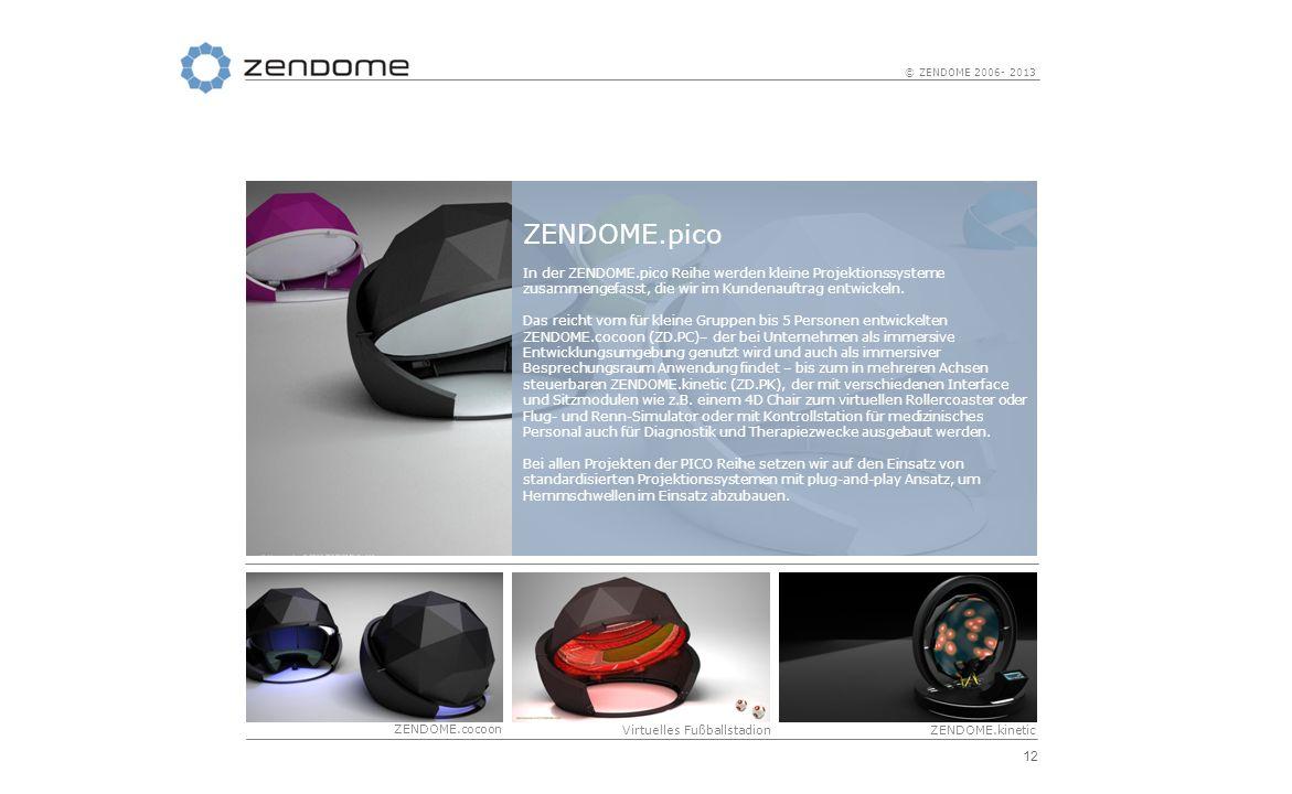 12 © ZENDOME 2006- 2013 ZENDOME.pico In der ZENDOME.pico Reihe werden kleine Projektionssysteme zusammengefasst, die wir im Kundenauftrag entwickeln.