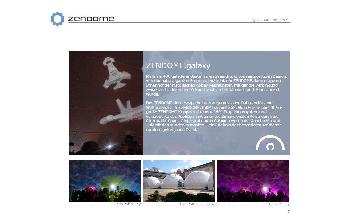13 © ZENDOME 2006- 2013 ZENDOME.galaxy Mehr als 400 geladene Gäste waren beeindruckt vom einzigartigen Design, von der extravaganten Form und Ästhetik