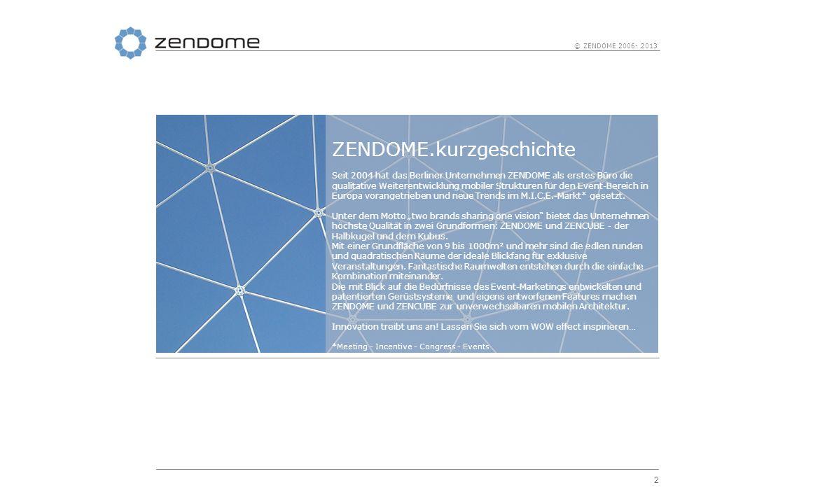 2 © ZENDOME 2006- 2013 ZENDOME.kurzgeschichte Seit 2004 hat das Berliner Unternehmen ZENDOME als erstes Büro die qualitative Weiterentwicklung mobiler