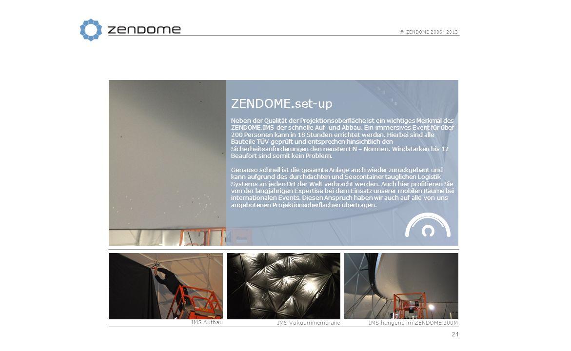 21 © ZENDOME 2006- 2013 IMS Aufbau IMS VakuummembraneIMS hängend im ZENDOME.300M ZENDOME.set-up Neben der Qualität der Projektionsoberfläche ist ein w