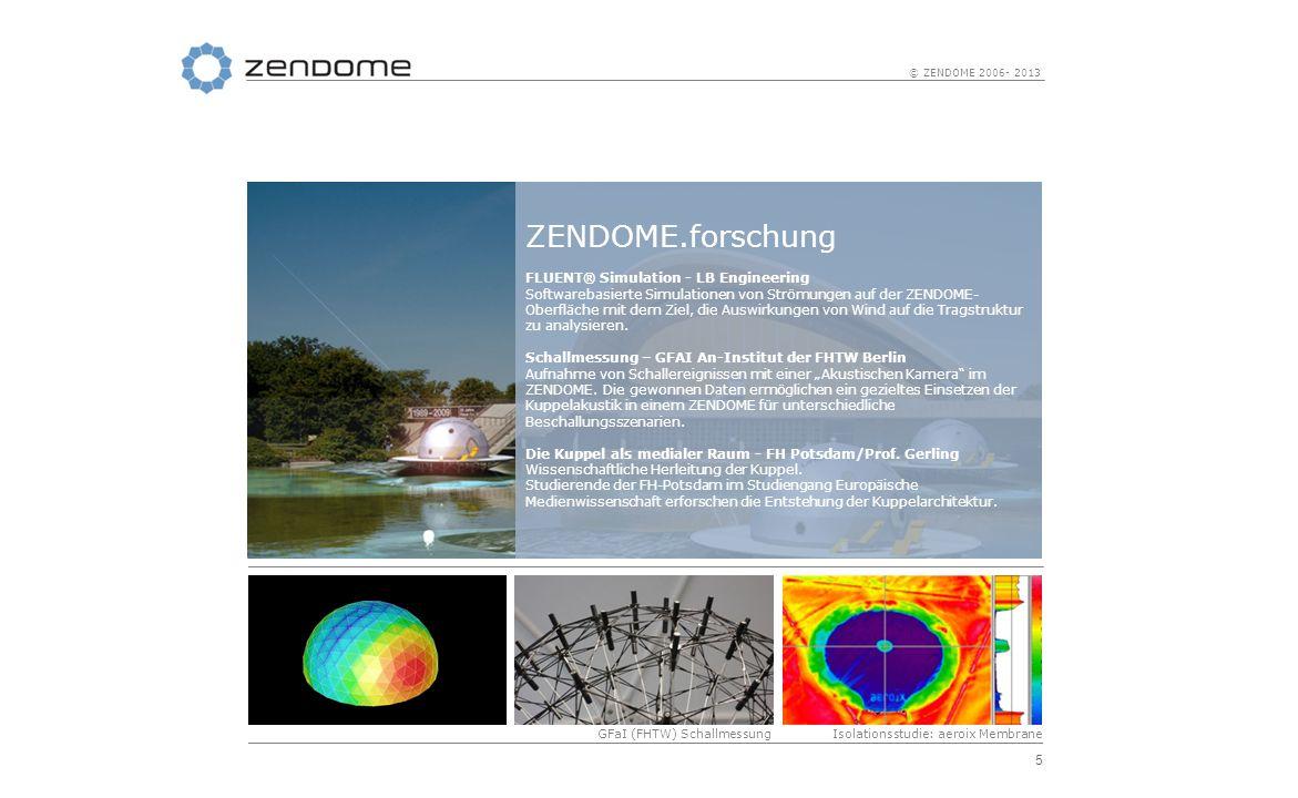 5 © ZENDOME 2006- 2013 GFaI (FHTW) SchallmessungIsolationsstudie: aeroix Membrane Fluent Simulation ZENDOME.forschung FLUENT® Simulation - LB Engineer