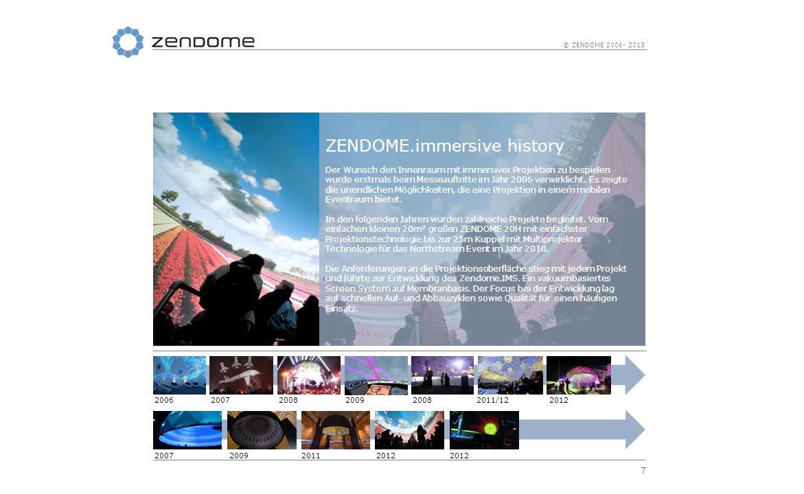 8 © ZENDOME 2006- 2013 ZENDOME.possibilities Fulldome Projektionen direkt auf die Kuppel Innenseite sind die einfachste Form der Nutzung von ZENDOME Kuppeln als immersive Umgebung.