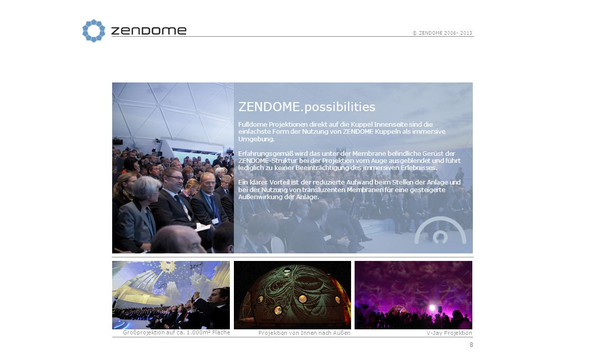 8 © ZENDOME 2006- 2013 ZENDOME.possibilities Fulldome Projektionen direkt auf die Kuppel Innenseite sind die einfachste Form der Nutzung von ZENDOME K