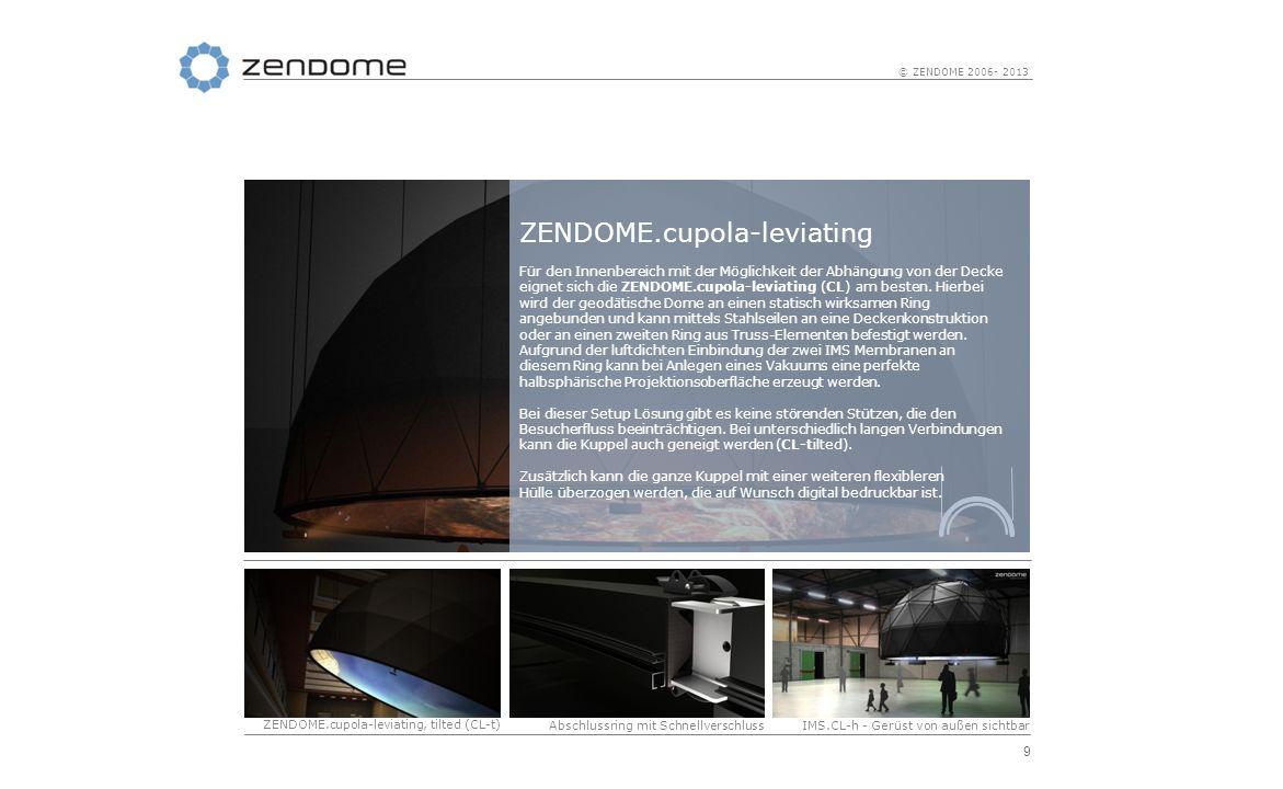 10 © ZENDOME 2006- 2013 ZENDOME.cupola-elevated Die ZENDOME.cupola-elevated (CE-horizontally) steht auf 4 bis 10 Stützen und kann somit frei in jeden Raum gestellt werden.