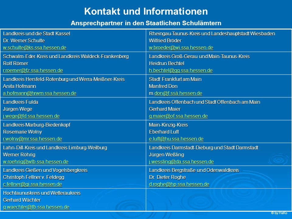 Kontakt und Informationen Ansprechpartner in den Staatlichen Schulämtern Landkreis und die Stadt Kassel Dr. Werner Schulte w.schulte@ks.ssa.hessen.de