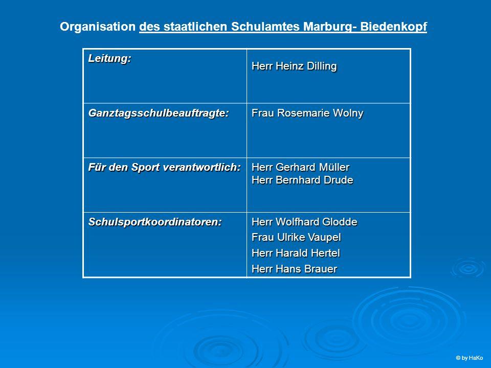 Organisation des staatlichen Schulamtes Marburg- Biedenkopf Leitung: Herr Heinz Dilling Ganztagsschulbeauftragte: Frau Rosemarie Wolny Für den Sport v