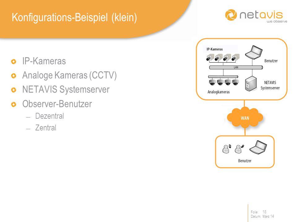 Folie:18 Datum:März 14 Konfigurations-Beispiel (klein) IP-Kameras Analoge Kameras (CCTV) NETAVIS Systemserver Observer-Benutzer Dezentral Zentral