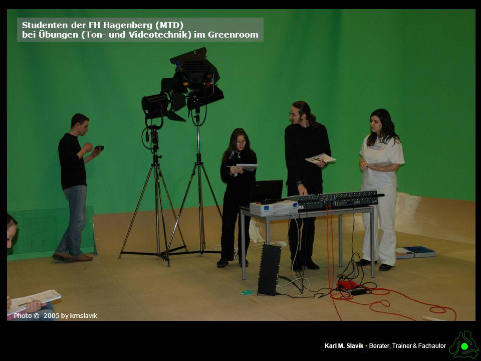 Inhalt dieser Präsentation Karl M. Slavik Berater, Trainer & Fachautor Studenten der FH Hagenberg (MTD) bei Übungen (Ton- und Videotechnik) im Greenro