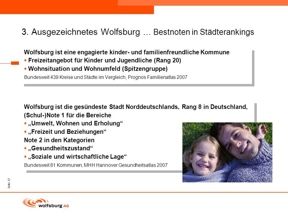 Navigationsleiste Aktueller Eintrag wird rot hervor- gehoben Navigationsleiste weiter Seite 12 3. Ausgezeichnetes Wolfsburg … Bestnoten in Städteranki