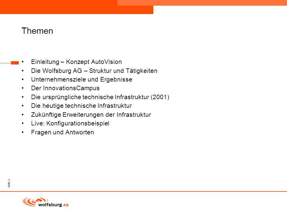 Navigationsleiste Aktueller Eintrag wird rot hervor- gehoben Navigationsleiste weiter Seite 2 Themen Einleitung – Konzept AutoVision Die Wolfsburg AG