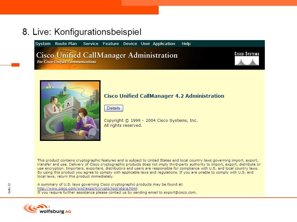 Navigationsleiste Aktueller Eintrag wird rot hervor- gehoben Navigationsleiste weiter Seite 22 8. Live: Konfigurationsbeispiel