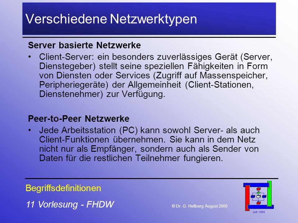 11 Vorlesung - FHDW © Dr. G. Hellberg August 2000 Verschiedene Netzwerktypen Server basierte Netzwerke Client-Server: ein besonders zuverlässiges Gerä