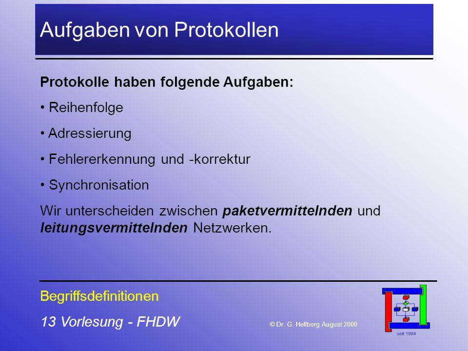 13 Vorlesung - FHDW © Dr. G. Hellberg August 2000 Aufgaben von Protokollen Begriffsdefinitionen Protokolle haben folgende Aufgaben: Reihenfolge Adress