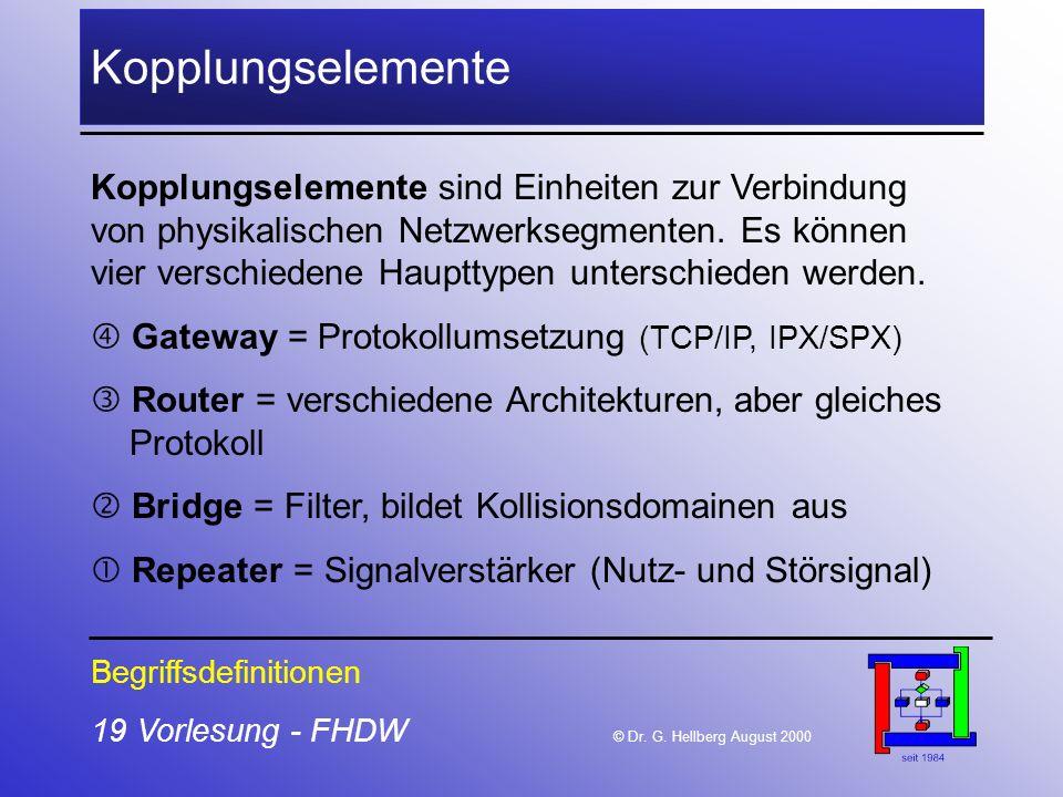 19 Vorlesung - FHDW © Dr. G. Hellberg August 2000 Kopplungselemente Begriffsdefinitionen Kopplungselemente sind Einheiten zur Verbindung von physikali