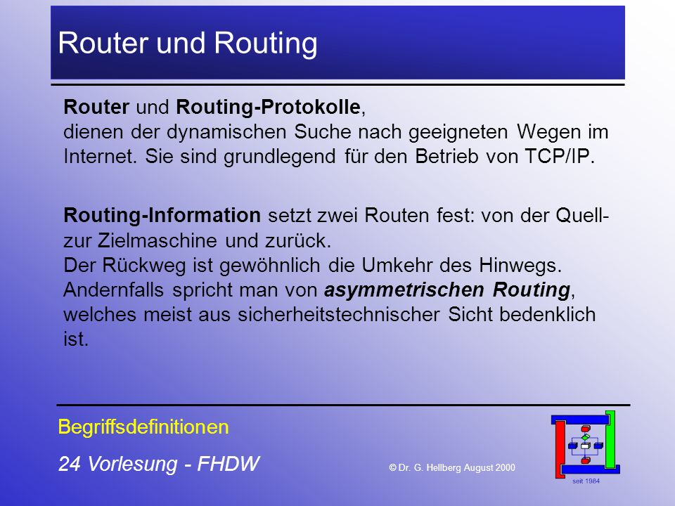 24 Vorlesung - FHDW © Dr. G. Hellberg August 2000 Router und Routing Router und Routing-Protokolle, dienen der dynamischen Suche nach geeigneten Wegen