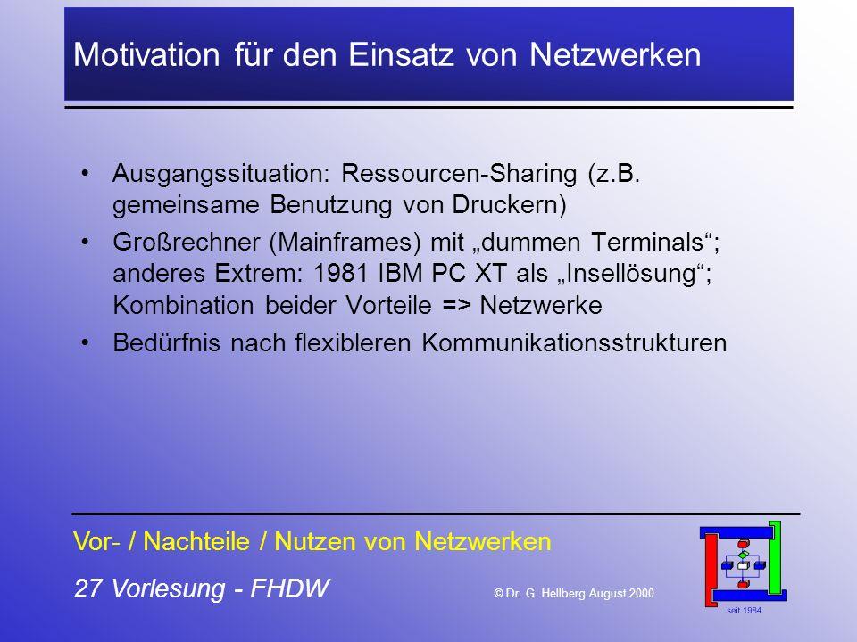 27 Vorlesung - FHDW © Dr. G. Hellberg August 2000 Motivation für den Einsatz von Netzwerken Ausgangssituation: Ressourcen-Sharing (z.B. gemeinsame Ben