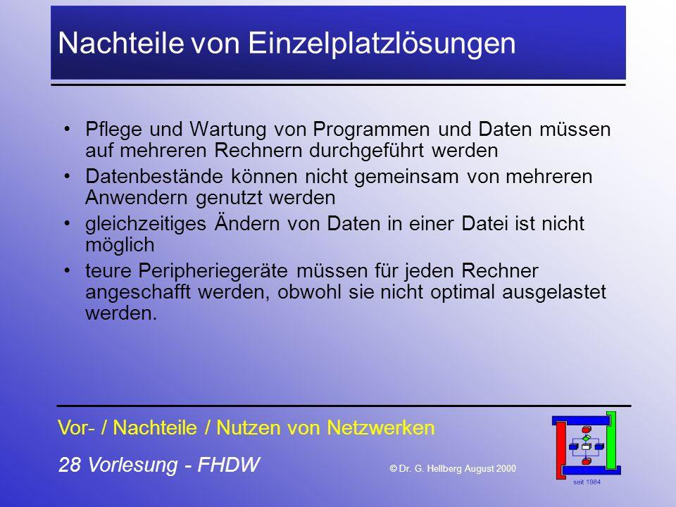 28 Vorlesung - FHDW © Dr. G. Hellberg August 2000 Nachteile von Einzelplatzlösungen Pflege und Wartung von Programmen und Daten müssen auf mehreren Re