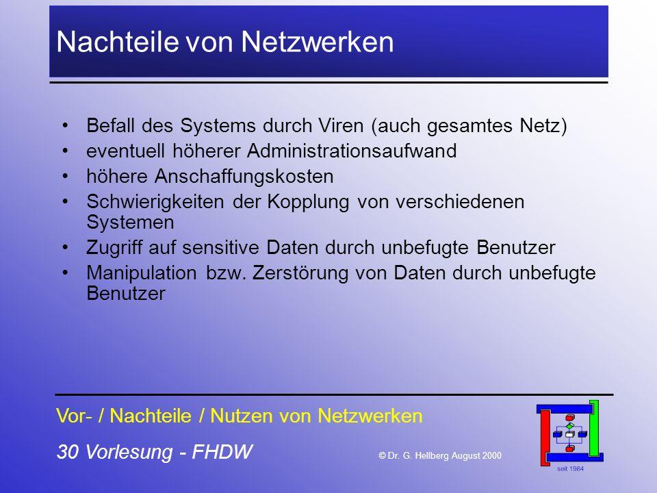 30 Vorlesung - FHDW © Dr. G. Hellberg August 2000 Nachteile von Netzwerken Befall des Systems durch Viren (auch gesamtes Netz) eventuell höherer Admin