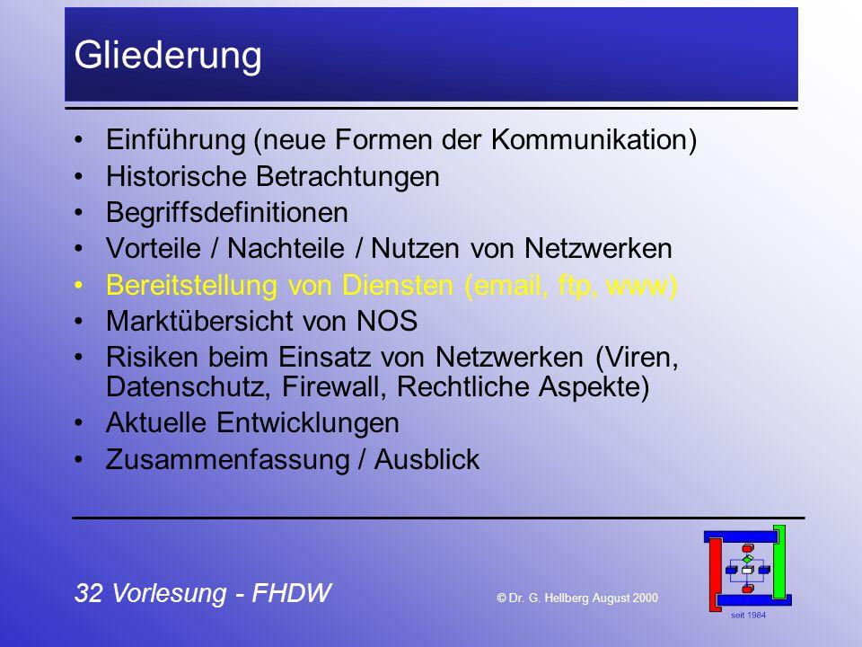 32 Vorlesung - FHDW © Dr. G. Hellberg August 2000 Gliederung Einführung (neue Formen der Kommunikation) Historische Betrachtungen Begriffsdefinitionen