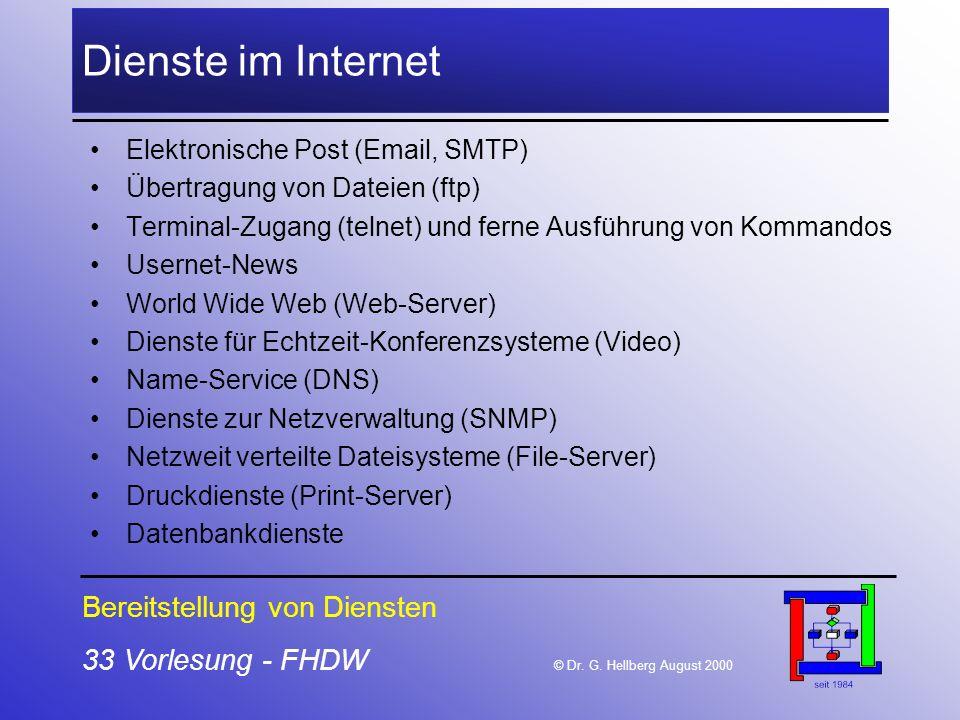 33 Vorlesung - FHDW © Dr. G. Hellberg August 2000 Dienste im Internet Elektronische Post (Email, SMTP) Übertragung von Dateien (ftp) Terminal-Zugang (