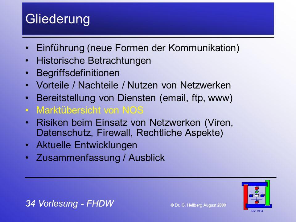 34 Vorlesung - FHDW © Dr. G. Hellberg August 2000 Gliederung Einführung (neue Formen der Kommunikation) Historische Betrachtungen Begriffsdefinitionen