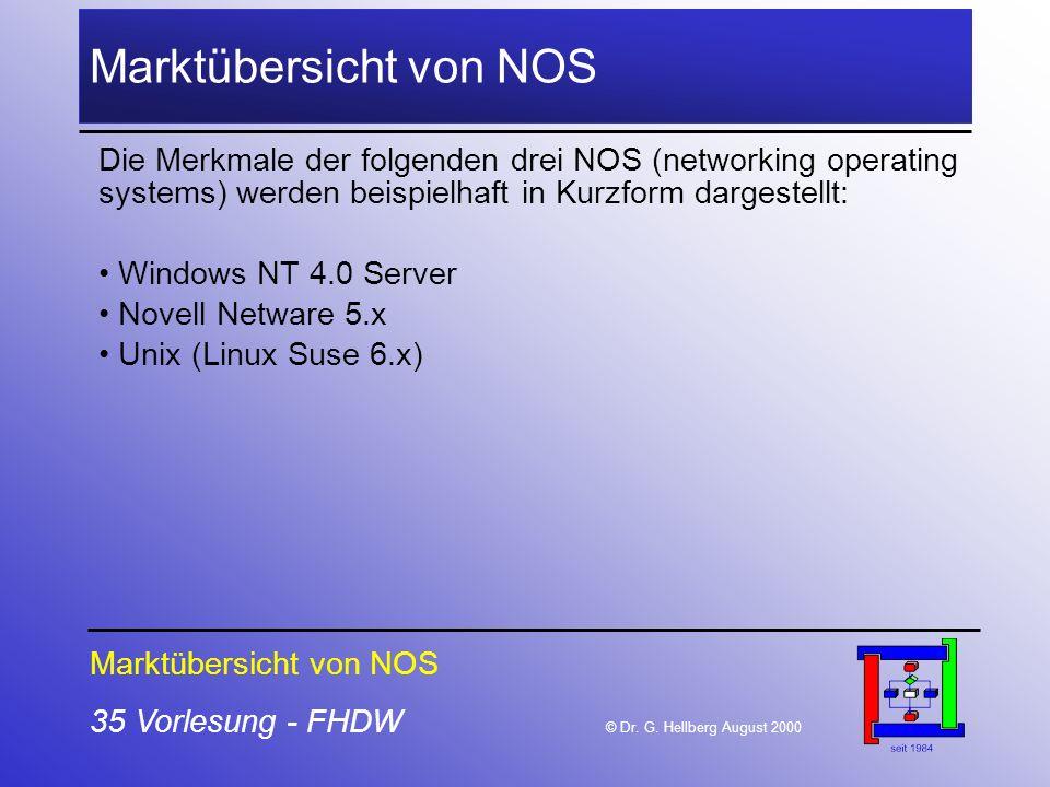 35 Vorlesung - FHDW © Dr. G. Hellberg August 2000 Marktübersicht von NOS Die Merkmale der folgenden drei NOS (networking operating systems) werden bei