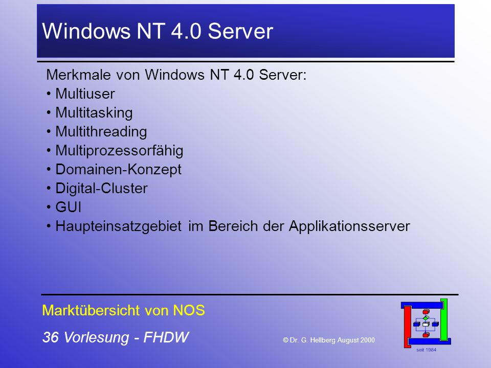 36 Vorlesung - FHDW © Dr. G. Hellberg August 2000 Windows NT 4.0 Server Merkmale von Windows NT 4.0 Server: Multiuser Multitasking Multithreading Mult