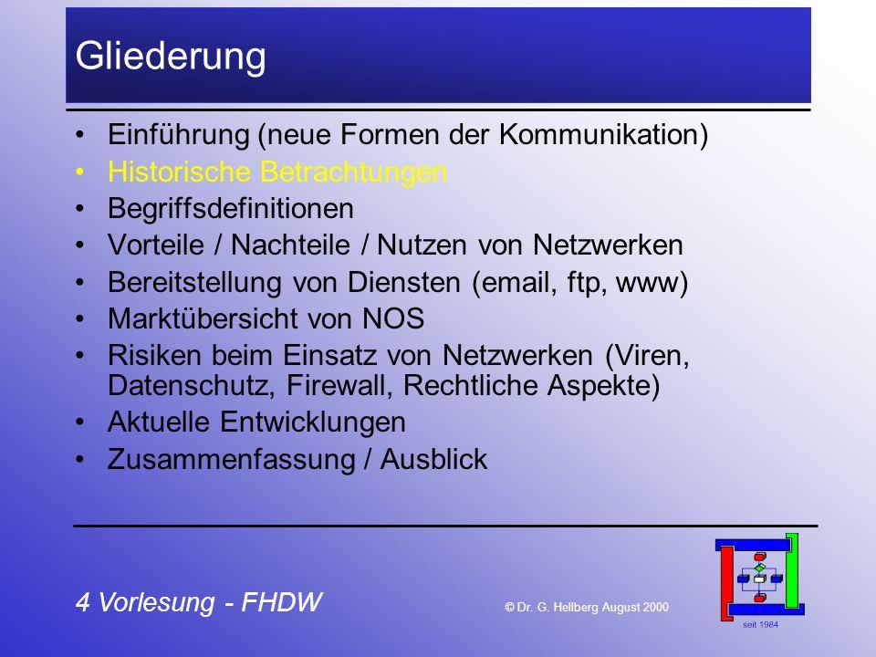 4 Vorlesung - FHDW © Dr. G. Hellberg August 2000 Gliederung Einführung (neue Formen der Kommunikation) Historische Betrachtungen Begriffsdefinitionen