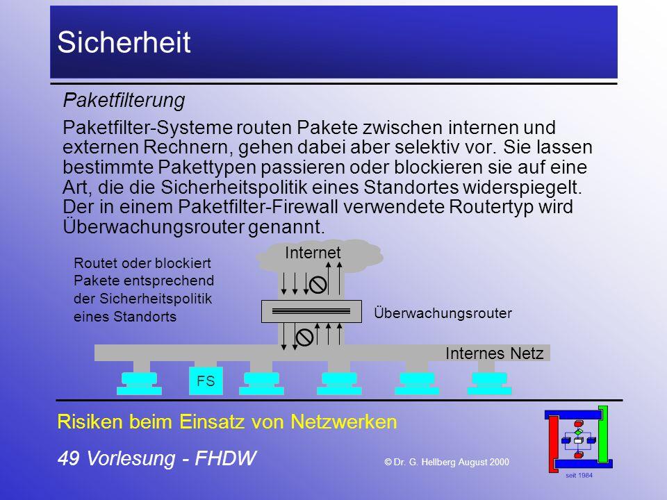 49 Vorlesung - FHDW © Dr. G. Hellberg August 2000 Sicherheit Paketfilterung Paketfilter-Systeme routen Pakete zwischen internen und externen Rechnern,