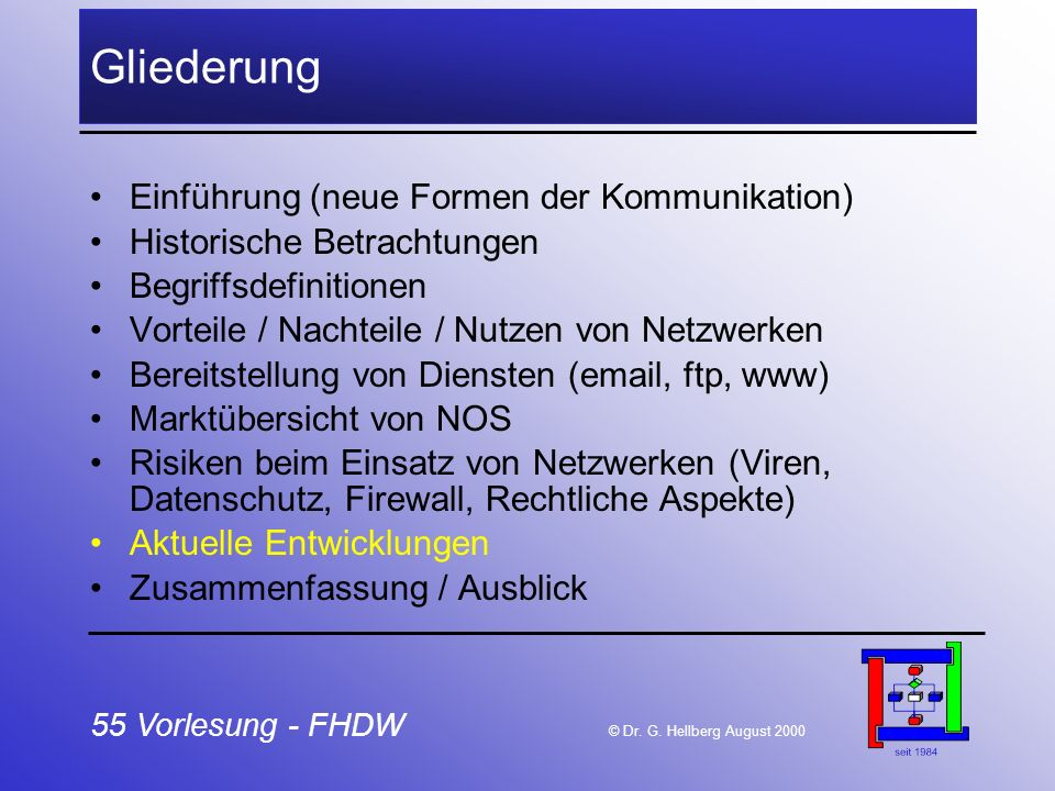 55 Vorlesung - FHDW © Dr. G. Hellberg August 2000 Gliederung Einführung (neue Formen der Kommunikation) Historische Betrachtungen Begriffsdefinitionen
