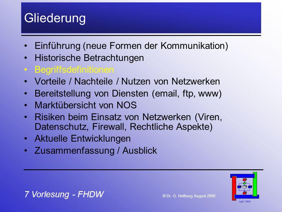 7 Vorlesung - FHDW © Dr. G. Hellberg August 2000 Gliederung Einführung (neue Formen der Kommunikation) Historische Betrachtungen Begriffsdefinitionen
